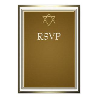 Barre Mitzvah RSVP d'étoile de David d'or blanc Carton D'invitation 8,89 Cm X 12,70 Cm
