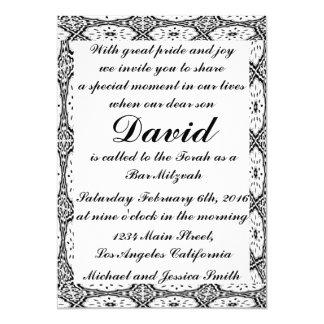 Barre noire Mitzvah de fleurs/invitation Carton D'invitation 12,7 Cm X 17,78 Cm