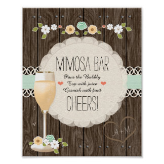 Barre nuptiale de mimosa de douche de mariage poster