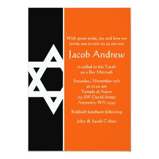 Barre orange et noire Mitzvah d'étoile de David Carton D'invitation 12,7 Cm X 17,78 Cm