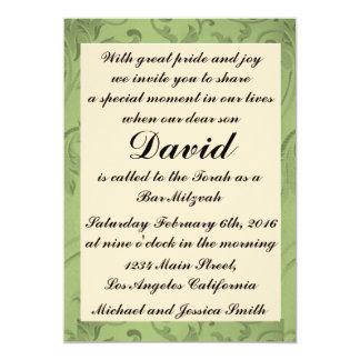 Barre verte Mitzvah de fleurs/invitation Carton D'invitation 12,7 Cm X 17,78 Cm