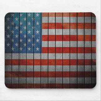Barrière peinte de drapeau américain tapis de souris