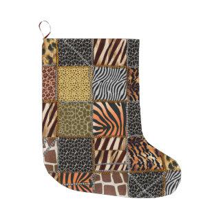 Bas de Noël de patchwork de safari Grande Chaussette De Noël