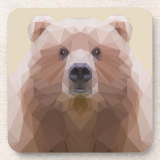 Bas poly dessous de verre de plastique d'ours.