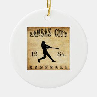 Base-ball 1884 de Kansas City Missouri Ornement Rond En Céramique