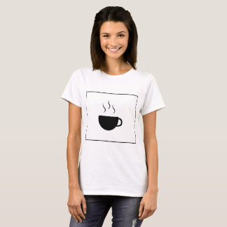 Basic T-Shirt White - Coffee stamp
