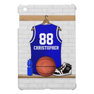 Basket-ball bleu et blanc personnalisé Jersey Coques iPad Mini