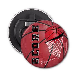 Basket-ball et filet rouges décapsuleur