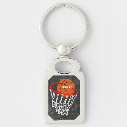 Basket-ball personnalisé et cercle de tableau porte-clé rectangulaire argenté