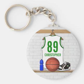 Basket-ball personnalisé Jersey (whitegreen) Porte-clefs