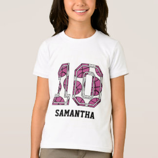 Basket-ball personnalisé numéro 10 rose et blanc t-shirt