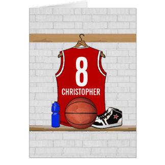 Basket-ball rouge et blanc personnalisé Jersey Carte De Vœux