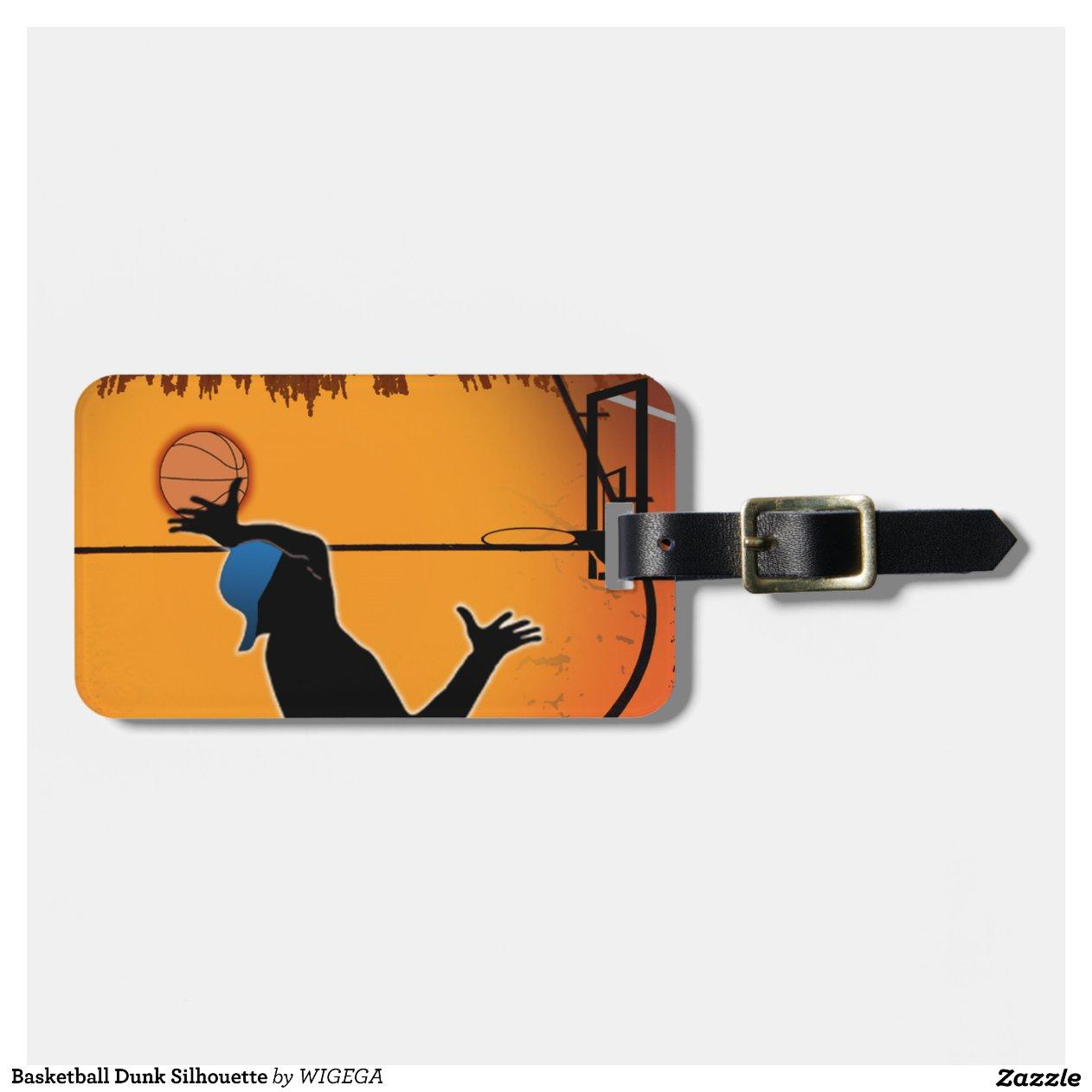 basketball dunk silhouette tiquette de bagage zazzle. Black Bedroom Furniture Sets. Home Design Ideas