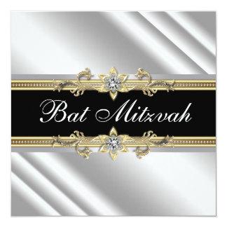 Bat mitzvah argenté de noir d'or faire-parts