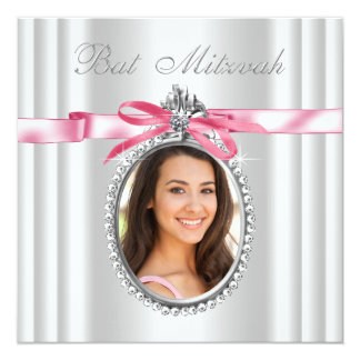 Bat mitzvah blanc rose de photo carton d'invitation  13,33 cm