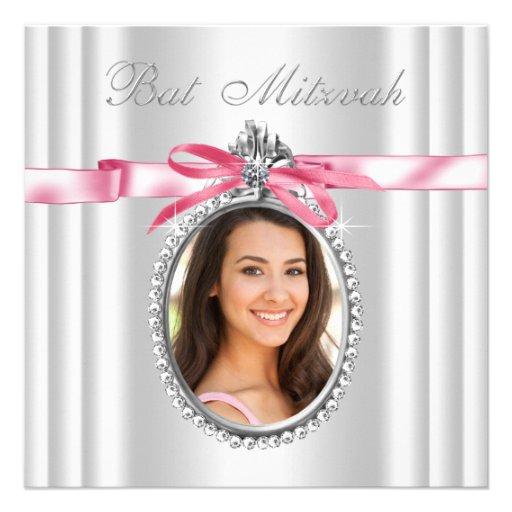 Bat mitzvah blanc rose de photo invitations personnalisées