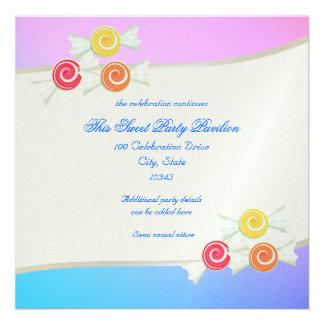 Bat mitzvah bleu de sucrerie de framboise invitations