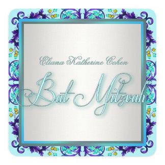 Bat mitzvah bleu et pourpre turquoise carton d'invitation  13,33 cm