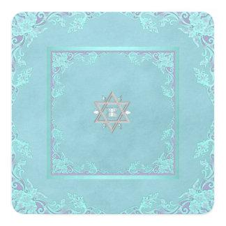 Bat mitzvah bleu pourpre et turquoise de lavande carton d'invitation  13,33 cm