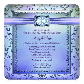 Bat mitzvah bleu pourpre et turquoise carton d'invitation  13,33 cm