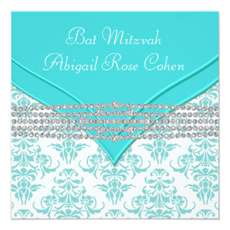 Bat mitzvah bleu turquoise de damassé carton d'invitation  13,33 cm