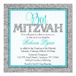 Bat mitzvah bleu turquoise de Faux d'argent Carton D'invitation 13,33 Cm
