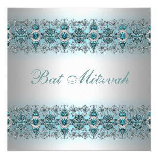 Bat mitzvah bleu turquoise invitation personnalisée