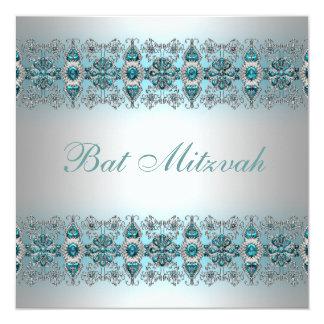 Bat mitzvah bleu turquoise carton d'invitation  13,33 cm