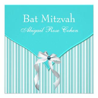 Bat mitzvah bleu turquoise invitation personnalisable