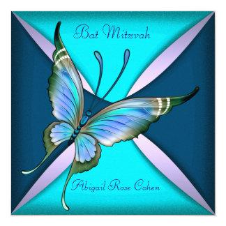 Bat mitzvah bleu turquoise pourpre de papillon carton d'invitation  13,33 cm