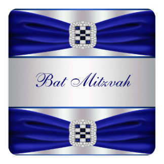 Bat mitzvah de bleu royal carton d'invitation  13,33 cm
