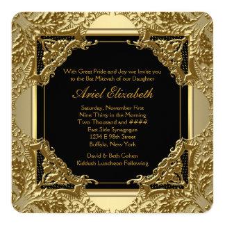 Bat mitzvah de fantaisie de noir et d'or carton d'invitation  13,33 cm