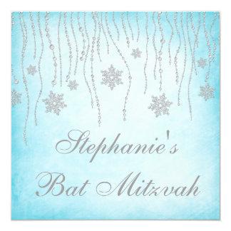 Bat mitzvah de flocons de neige de diamant du pays carton d'invitation  13,33 cm