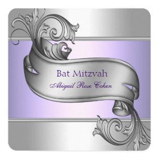 Bat mitzvah de pourpre de lavande carton d'invitation  13,33 cm