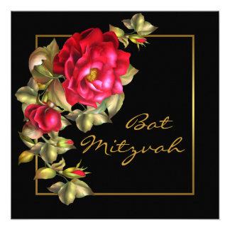 Bat mitzvah de rose rouge faire-part personnalisés