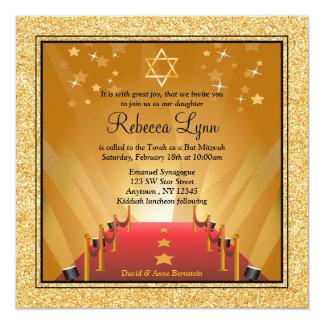 Bat mitzvah d'étoile d'or de Hollywood de tapis Carton D'invitation 13,33 Cm
