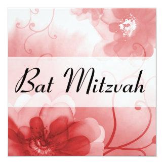 Bat mitzvah élégant de fleurs d'écarlate et de carton d'invitation