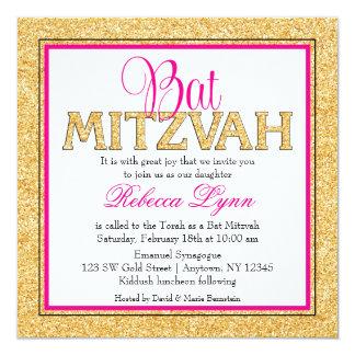 Bat mitzvah fascinant de rose d'or de carton d'invitation  13,33 cm
