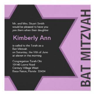 Bat mitzvah moderne d'étoile de David - gris et ro Cartons D'invitation