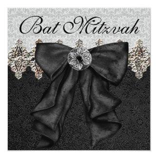 Bat mitzvah noir argenté de damassé bristol