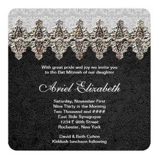Bat mitzvah noir de fantaisie carton d'invitation  13,33 cm