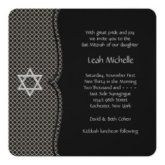 Bat mitzvah noir élégant carton d'invitation  13,33 cm