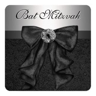 Bat mitzvah noir et argenté carton d'invitation  13,33 cm