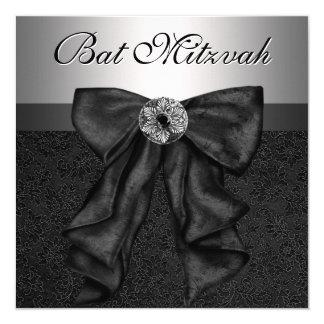 Bat mitzvah noir et argenté invitation