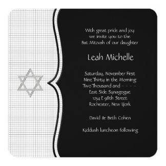 Bat mitzvah noir et blanc carton d'invitation  13,33 cm