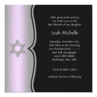Bat mitzvah noir pourpre d'étoile de David Carton D'invitation 13,33 Cm