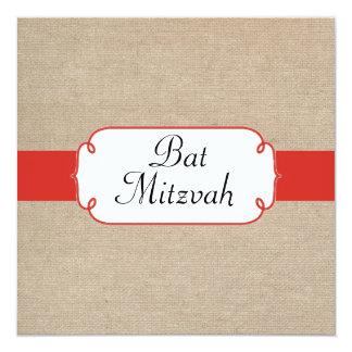 Bat mitzvah orange et beige rouge vintage de toile carton d'invitation  13,33 cm