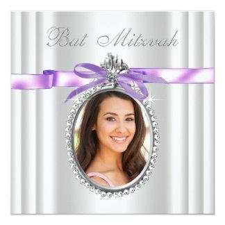 Bat mitzvah pourpre de photo de lavande carton d'invitation  13,33 cm