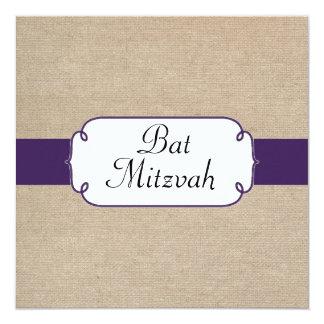 Bat mitzvah pourpre et beige foncé rustique de carton d'invitation  13,33 cm