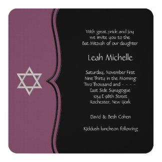 Bat mitzvah pourpre et noir carton d'invitation  13,33 cm